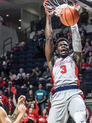Ole Miss guard Terence Davis, seen here dunking in a game last season, scored 30 points in the Rebels' 83-76 loss at Butler on Friday night.