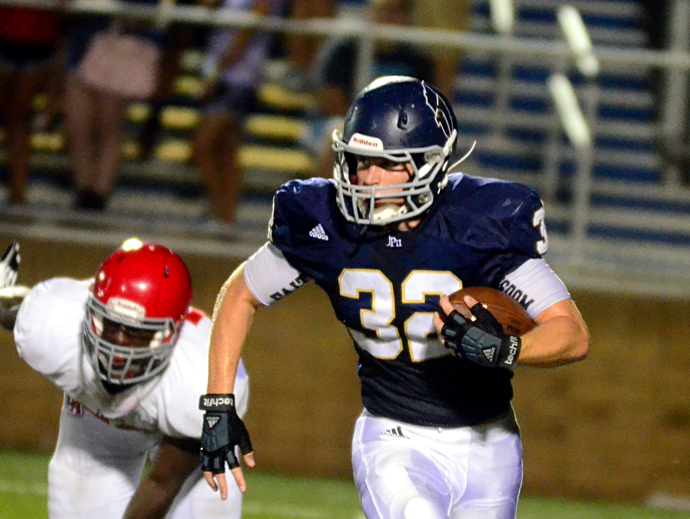 Senior Drew Bledsoe and the Pope John Paul II High football team captured a 21-19 victory at Baylor last Friday.