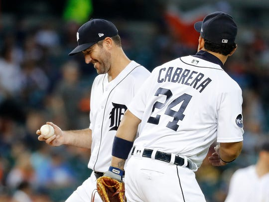 Tigers pitcher Justin Verlander, left, smiles while talking to Miguel Cabrera after allowing a double to the Pirates' Josh Bell in the sixth inning Wednesday, Aug. 9, 2017 at Comerica Park. It was Pittsburgh's first hit of the game.