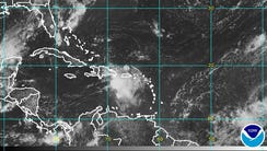 A satellite image of the Caribbean taken Friday morning