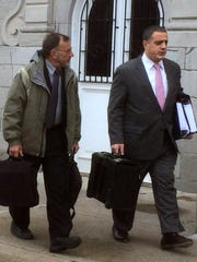 Cal Harris attorney Bruce Barket, right, walks to Schoharie County Court on with his blood spatter expert, Terry Laber, during the third murder trial in 2015.