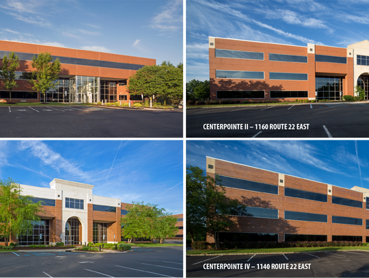 This collage shows all four office buildings in the
