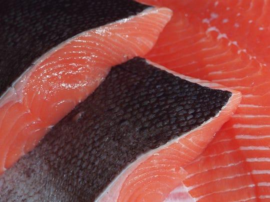 Wild-caught salmon steaks