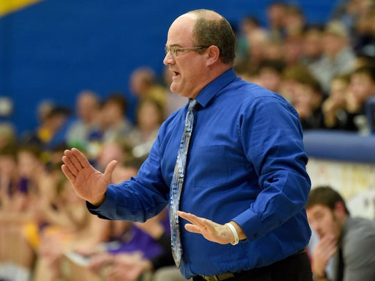 Lincoln coach Rodney Klein reacts Tuesday, Feb. 7,