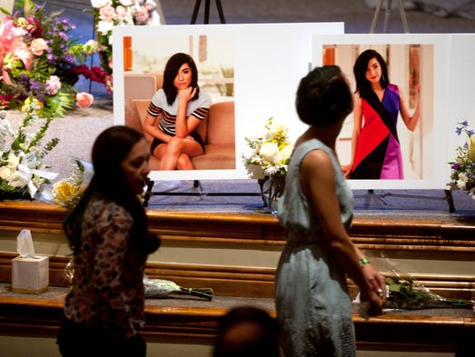 Photographs of Christina Grimmie are displayed during