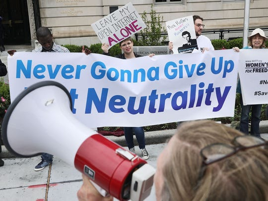 Proponents of net neutrality protest against Federal