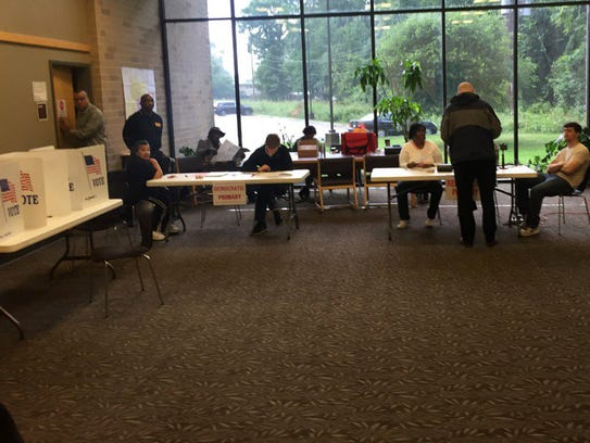 Voting at the Willie Morris public library in northJackson.