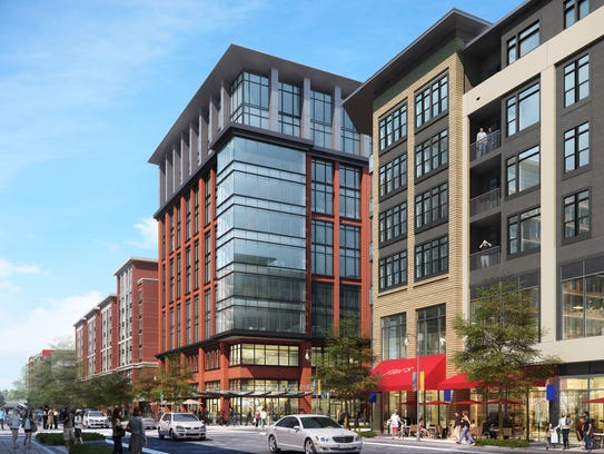 A view of Block E at Capitol View at the corner of