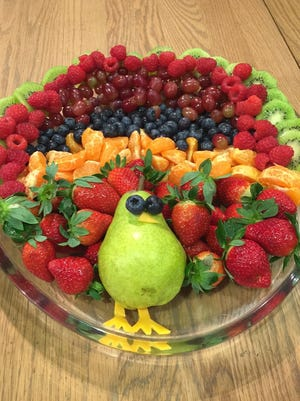 A colorful fruit plate makes a great addition to the Thanksgiving feast.