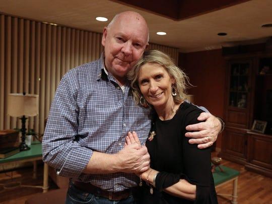 Rosemarie and Owen Lennon at their Pomona home Dec. 7, 2017. Their son, Marine Sgt. Owen  Lennon Jr., died in an air crash this summer in Mississippi.
