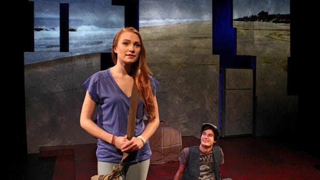 "Lis (Christine Elliott) and Edgar2330 (Lukas Jacob) in ""Out of Orbit."""