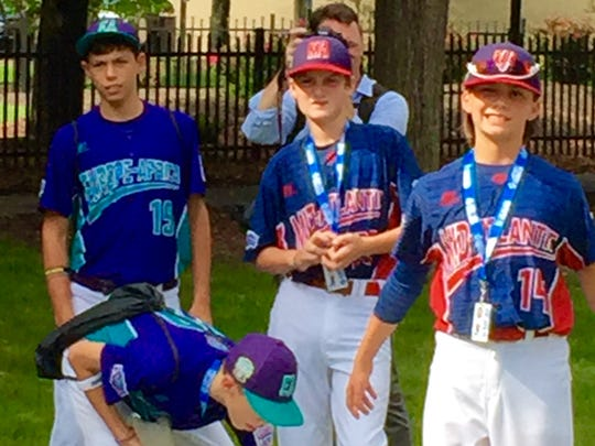 Players from Holbrook interact with their fellow Little League World Series competitors during a picnic Wednesday afternoon in Williamsport, Pa.
