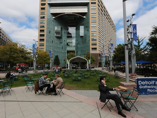 A view of the One Campus Martius building in downtown