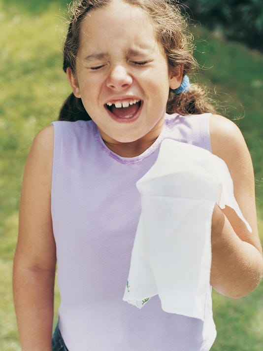 Girl With Hay Fever Sneezing