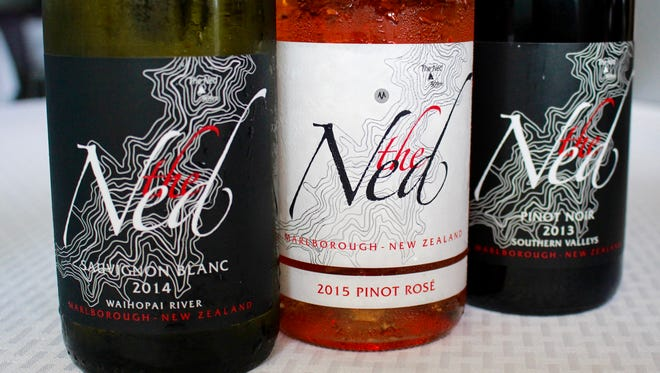 The Ned Sauvignon Blanc, Pinot Rosé and Pinot Noir wines.