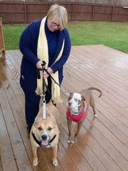 Sheri Prielipp-Falzono at her South Lyon home with her two rescue dogs; Barkly-Leroy, left, and Penny. Both are pit-bull mixes and have been lovingly taken care of by Sheri and her husband Vincent in their home.