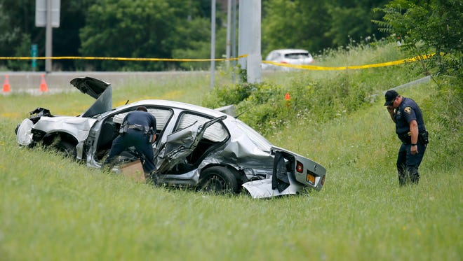 A police chase after an alleged shoplifting incident in Farmington last June, ended with a crash on I-490 near exit 25 with two deaths. Noah Marinelli, 33, of Canandaigua, who was driving this car, died at the scene. The passenger, Danielle Golding, 31, of Utica, died a week later.