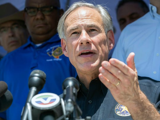 Texas Governor Greg Abbott speaks during a press conference