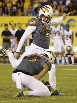 Arizona State kicker Zane Gonzalez became the all-time NCAA Division I FBS leader in field goals with this 46-yard kick in the fourth quarter against UCLA on Saturday, Oct. 8, 2016, in Tempe.