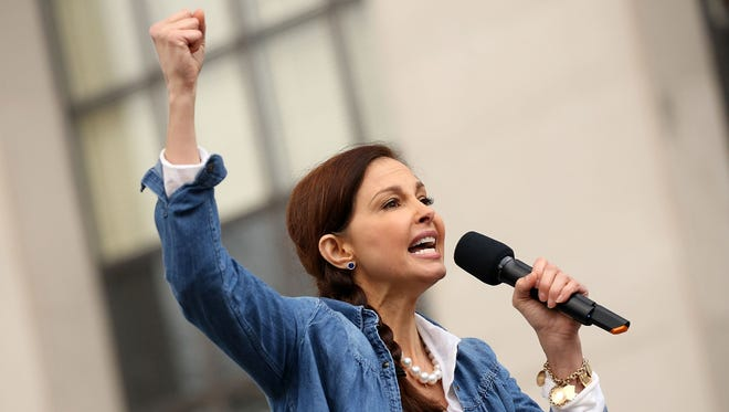 Ashley Judd was among many celebrities who participated in the rally at the Women's March on Washington on Jan. 21, 2017, in D.C.