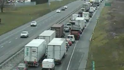 Traffic is backed up on Route 30 in the area of Centerville Road after a crash Friday afternoon.