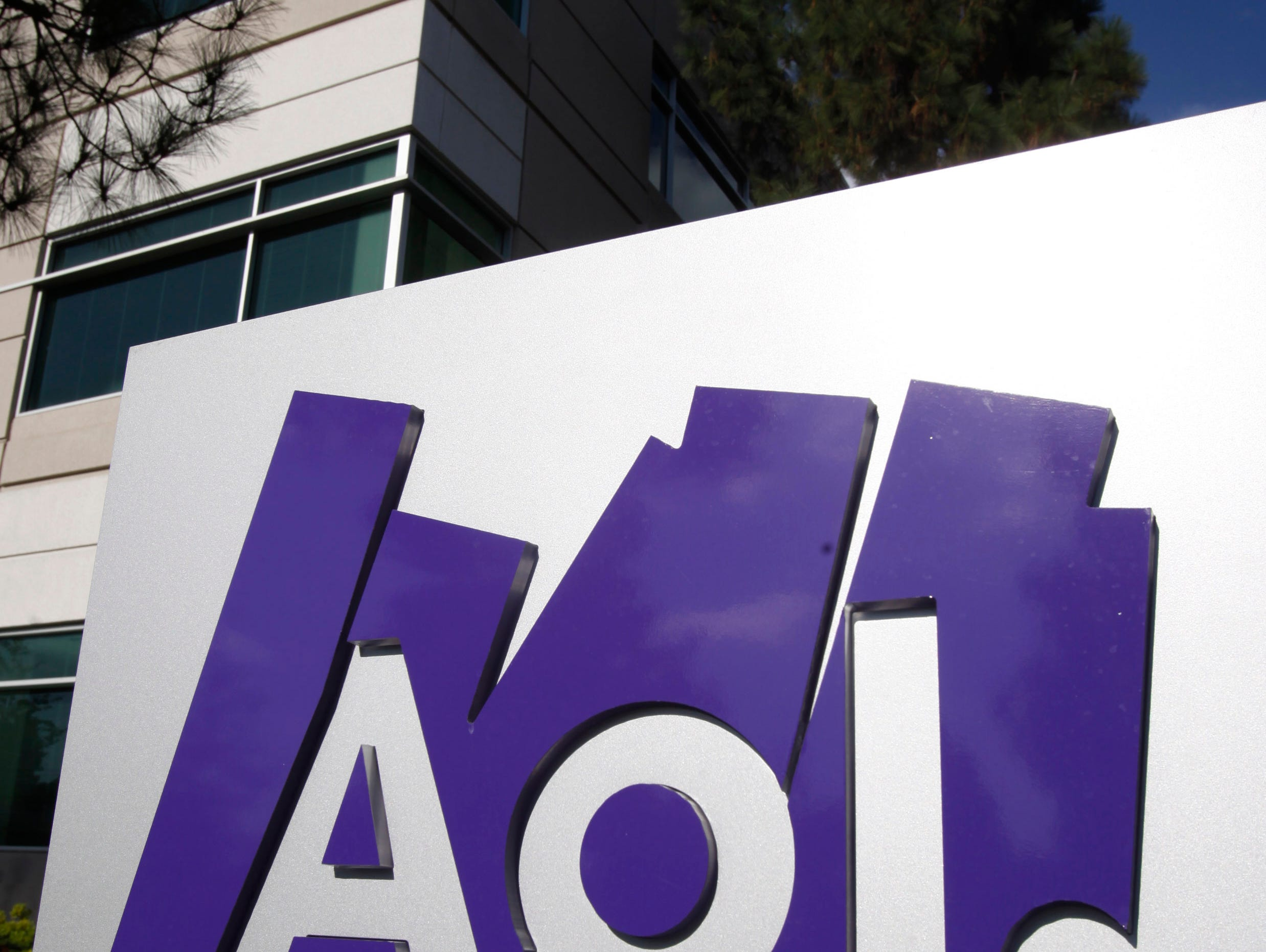 FILE - This Thursday, Oct. 14, 2010, file photo, shows the exterior of AOL offices in Palo Alto, Calif. Verizon Communications Inc. is buying AOL Inc. for about $4.4 billion, advancing the telecomís push in both mobile and advertising fields, the com