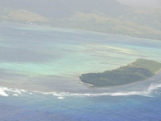 Cocos Island is shown in this photograph taken from