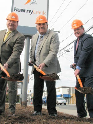 From left to right, John Mazur, chairman of Kearny Bank; North Arlington Mayor Joseph Bianchi; and Craig Montanaro at the groundbreaking ceremony.