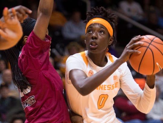 Tennessee guard Rennia Davis (0) looks towards the