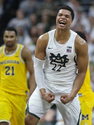 Michigan State forward Miles Bridges reacts after the 70-62 win over Michigan on Sunday, Jan. 29, 2017 at the Breslin Center in East Lansing.