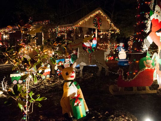 lights and decorations create a festive scene on the