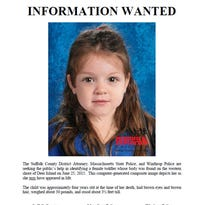 This flyer released Thursday, July 2, 2015, by the Suffolk County, Mass.,  District Attorney includes a computer-generated composite image depicting the possible likeness of a young girl, whose body was found on the shore of Deer Island in Boston Harbor on June 25, inside a bag that also contained a black and white zebra-print blanket.
