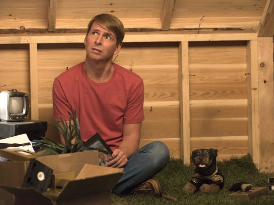 """Jack McBrayer and Triumph the Insult Comic Dog in """"The Jack and Triumph Show"""" on Adult Swim."""