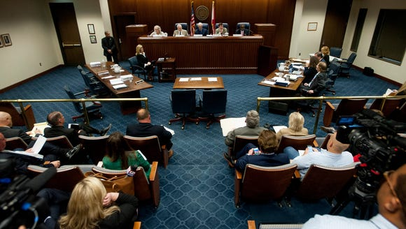 The Alabama Ethics Commission meets in Montgomery,