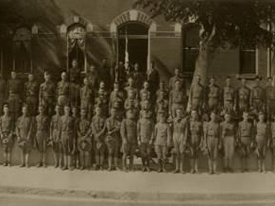 Members of National Guard Company I, Salisbury, were photographed in front of the Wicomico County Courthouse in 1917 – 100 years ago – just days before they left to serve in World War I.