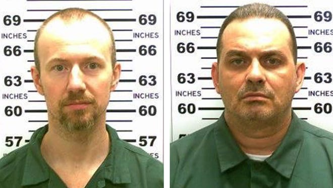 A composite image showing convicted murderers David Sweat, left, and Richard Matt, right, who escaped from the maximum security Clinton Correctional Facility in Dannemora, N.Y., on June 6, 2015.