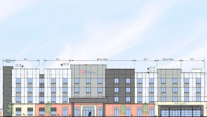 A rendering of a four-story hotel with 99 rooms that has been proposed along Tulip Poplar Drive in Gallatin.