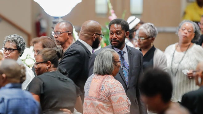 """Mourners pay their respects to five members of the Coleman family who died in a duck boat accident on Table Rock Lake near Branson Missouri, during funeral services at Eastern Star Church, 5805 Cooper Road, in Indianapolis Ind., on Saturday, July 28, 2018. In all 9 members of the Coleman family were killed in the tragedy which took place on July 19. Saturdays service remembered Horace """"Butch"""" Coleman, 70, and his wife, Belinda """"Toni,"""" 69, Horace's brother, Irvin """"Ray,"""" 76, Horace's daughter, Angela, 45, and Angela's son Maxwell, 2."""