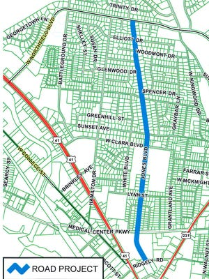 The blue line indicates the stretch of Jones Boulevard that will undergo improvements beginning in late 2017.