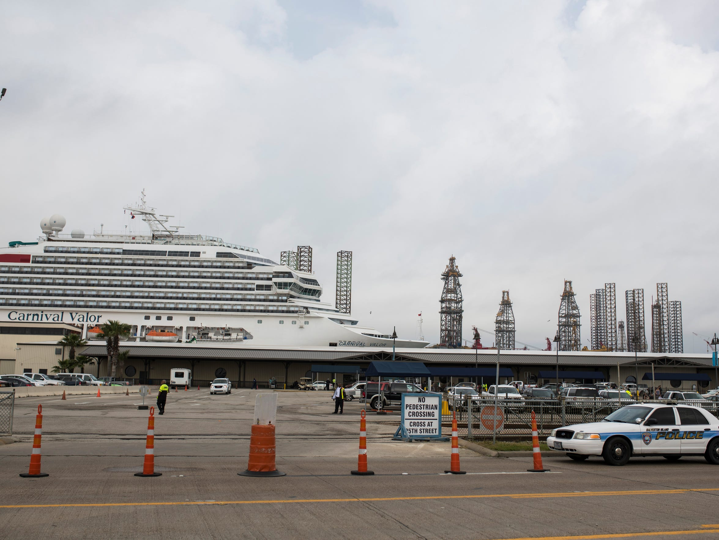 A  Carnival ship sits at the new cruise terminal in