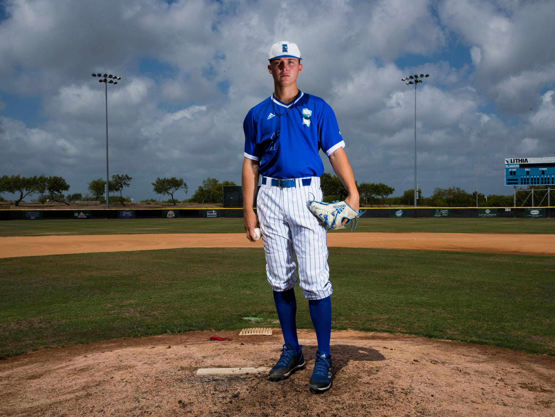 Texas A&M-Corpus Christi pitcher Aaron Hernandez poses