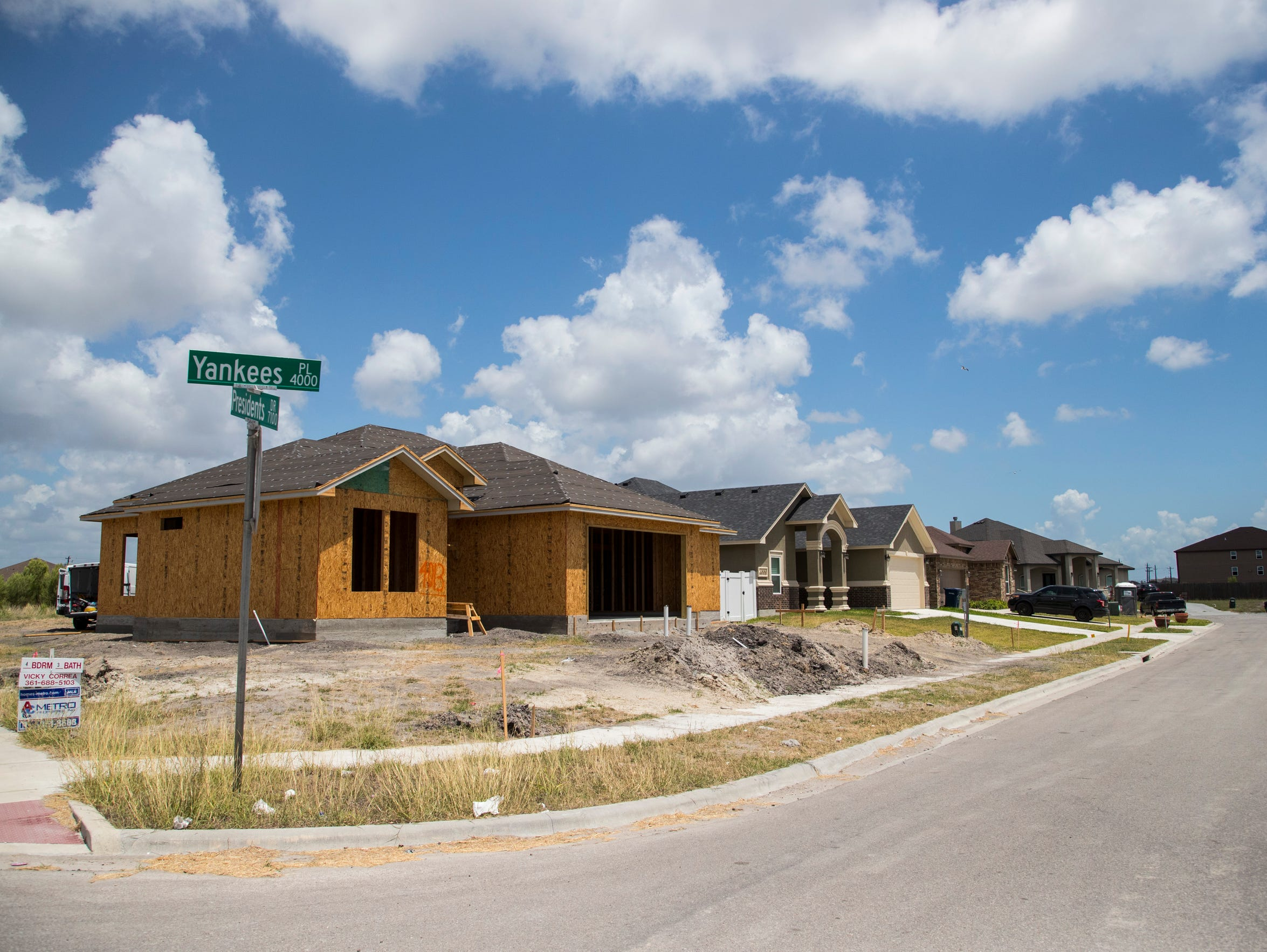 New houses sit under construction near Yorktown Boulevard
