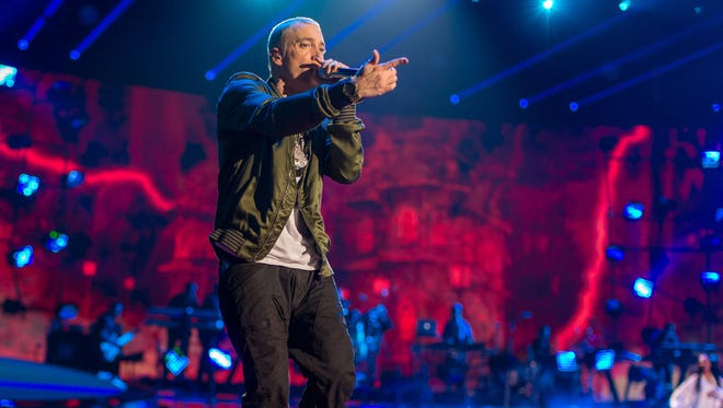 Eminem performs at the 2014 MTV Movie Awards at Nokia Theatre on April 13, 2014 in Los Angeles, Calif.