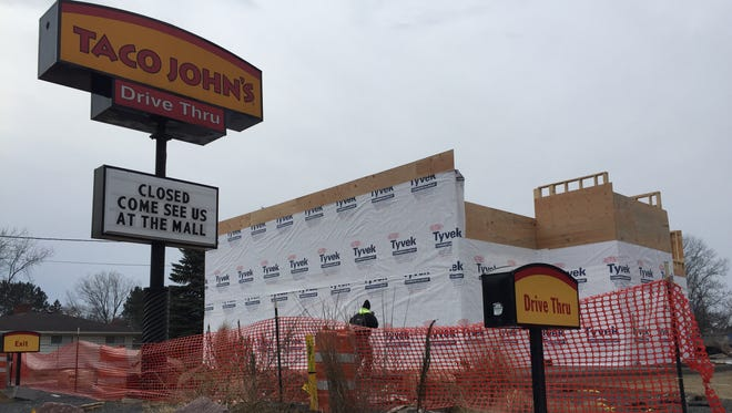 Construction is underway at Taco John's.