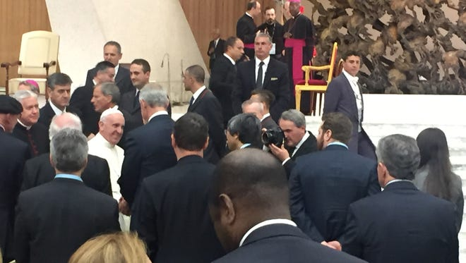 Pope Francis greets Sanford Health CEO Kelby Krabbenhoft at the Vatican's stem cell conference.