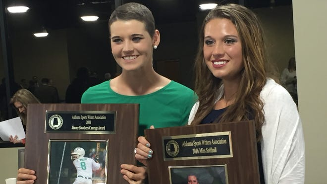 Brantley's Alex Wilcox and Curry's Ashlee Swindle won two prestigious high school sports awards Sunday. Swindle was named the state's Miss Softball, while Wilcox won the inaugural Jimmy Smothers Courage Award.