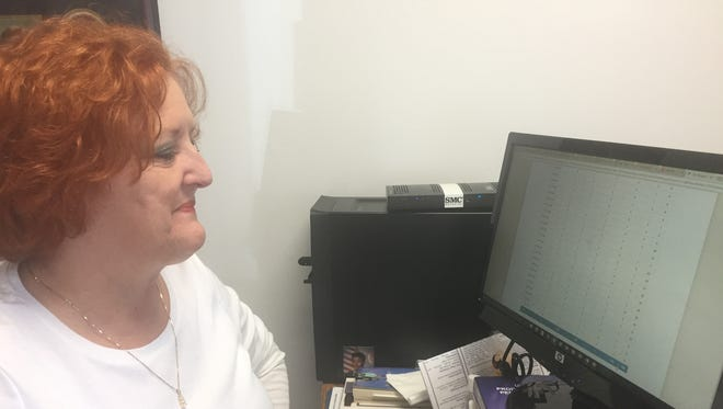 Kaye Jones, chair of Crimestoppers of Clarksville Montgomery County, looks at some of the stats on a website being used to help get information to solve crimes. Tipsters are given a number to stay anonymous.