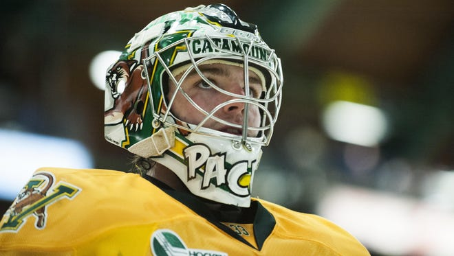 Catamount goalie Packy Munson (33) in action during the men's hockey game between the Boston College Eagles and the Vermont Catamounts at Gutterson Fieldhouse on Friday night in Burlington.