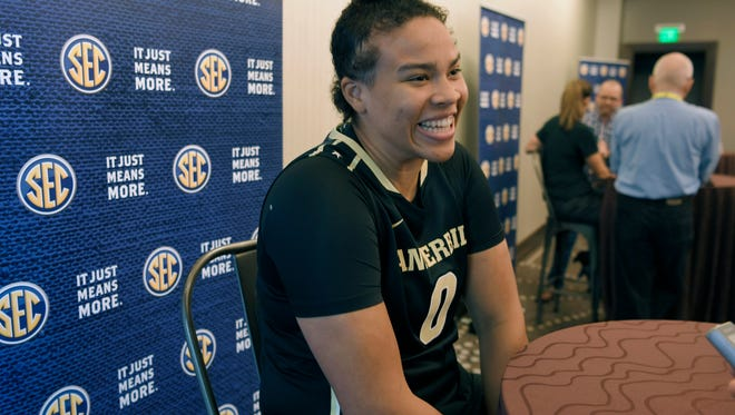 Vanderbilt Kayla Overbeck talks to the media during the 2017-18 SEC Women's Basketball Media Day at the Omni Hotel in Nashville on Thursday, Oct. 19, 2017.