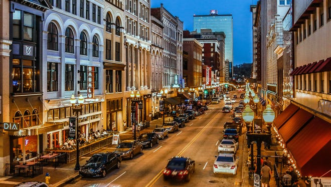 A view of Gay Street in downtown Knoxville as envisioned by Bruce McCamish.